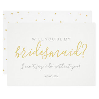 Will You Be My Bridesmaid Card - Gold Dots White