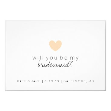 Valentines Themed Will You Be My Bridesmaid Card - Heart Peach