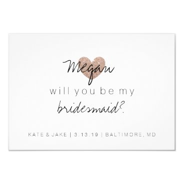 Valentines Themed Will You Be My Bridesmaid Card - Heart's Fab 2 RG