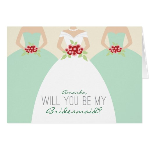 will you be my bridesmaid card mint green zazzle. Black Bedroom Furniture Sets. Home Design Ideas