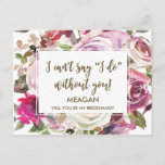"""Will you be my bridesmaid card personalized<br><div class=""""desc"""">A beautiful watercolour floral postcard to send to your bridesmaids to be!  Simply change the name for each of your bridesmaids (or maid of honor/flower girl etc).  Personalise the message on the reverse to suit you if required or delete if you would like to handwrite it.</div>"""