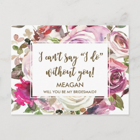 Will You Be My Bridesmaid Card Personalized Zazzlecom