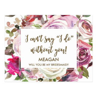 Will you be my bridesmaid postcards zazzle will you be my bridesmaid card personalized pronofoot35fo Image collections