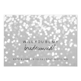 Will You Be My Bridesmaid Card - Sparkling Grey Si