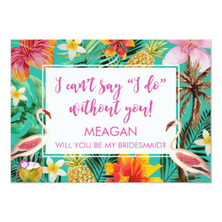 Will you be my bridesmaid card tropical flamingo
