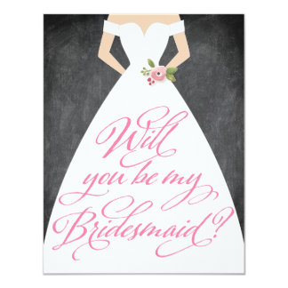 Will You Be My Bridesmaid Chalkboard Dress Card