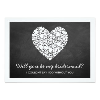 Will You Be My Bridesmaid? Chalkboard Heart Card