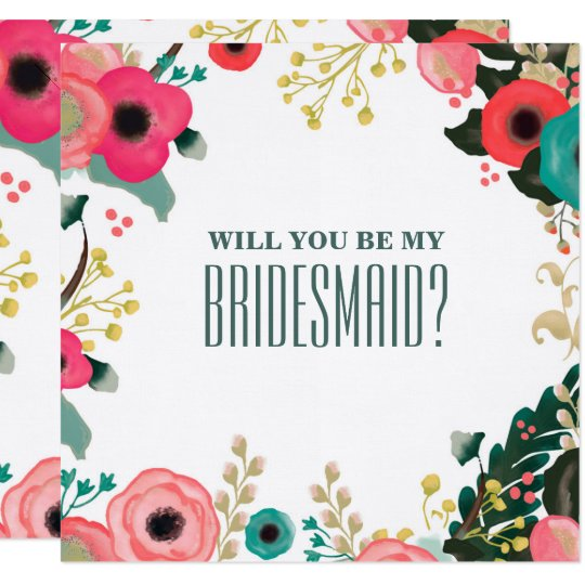 Will You Be My Bridesmaid Custom Invitation Cards Zazzle Com