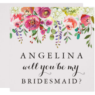 Will You Be My Bridesmaid Customizable Card Floral