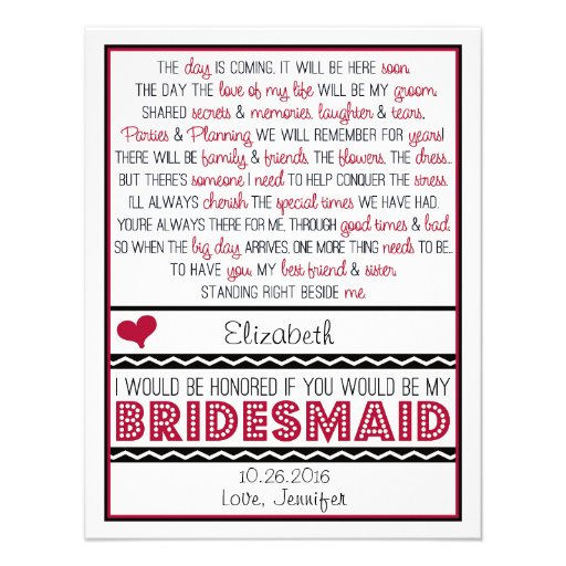 Will you be my Bridesmaid? Deep Red/Black Poem Custom Invitations