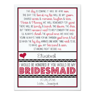 Will you be my Bridesmaid? Deep Red/Black Poem 4.25x5.5 Paper Invitation Card