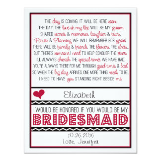 Will you be my Bridesmaid? Deep Red/Black Poem V2 4.25x5.5 Paper Invitation Card