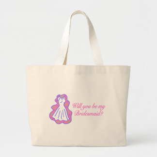 Will You Be My Bridesmaid (Dress) Large Tote Bag