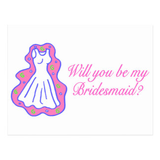 Will You Be My Bridesmaid (Dress) Postcard