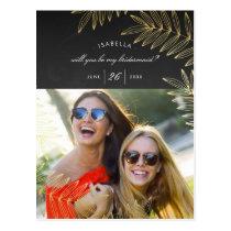 Will You Be My Bridesmaid   Elegant Gold Leaf Postcard