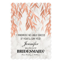 Will You Be My Bridesmaid Elegant Marble Rose Gold Cards