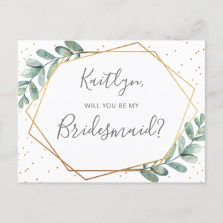 Will You Be My Bridesmaid Eucalyptus Geometric Invitation Postcard