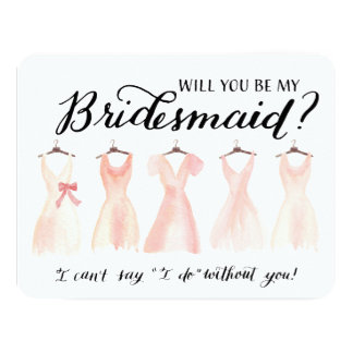 Will You Be My Bridesmaid Five Dresses Peach Card