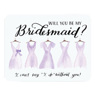 Will You Be My Bridesmaid Five Dresses Purple 4.25x5.5 Paper Invitation Card