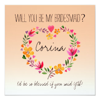 Will You Be My Bridesmaid Flowers Heart Wreath Invitation