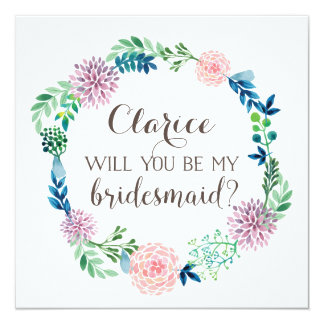 Will you be my bridesmaid, flowers, watercolor invitation