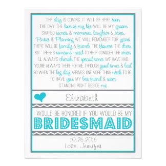 Will you be my Bridesmaid Fun Blue Gray Poem Card