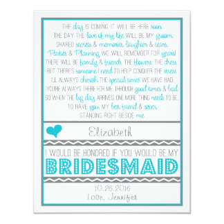 Will you be my Bridesmaid? Fun Blue/Gray Poem Card Personalized Invites