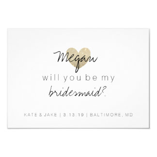 Will You Be My Bridesmaid - Glitter Heart's Fab 2 Invitation