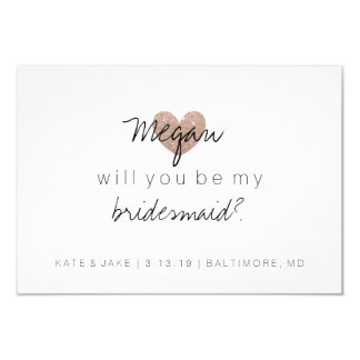 Will You Be My Bridesmaid-Glitter Heart's Fab Rose Invitation