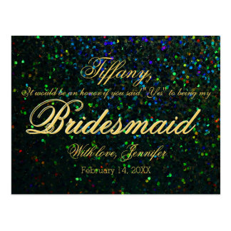 Will You Be My Bridesmaid? Glitter Look Postcard