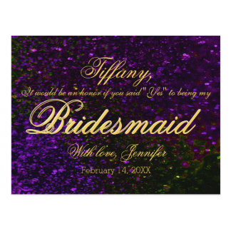Will You Be My Bridesmaid? Glitter Purple Postcard