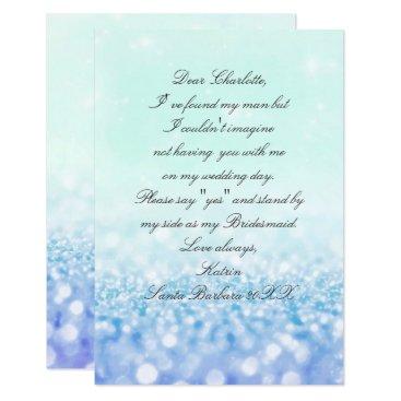 Beach Themed Will You Be My Bridesmaid? Glitter Tiffany Aqua Card