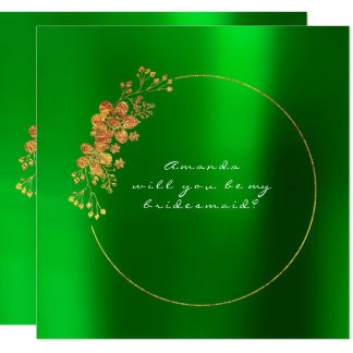 Will You Be My Bridesmaid Gold Emerald Green Card