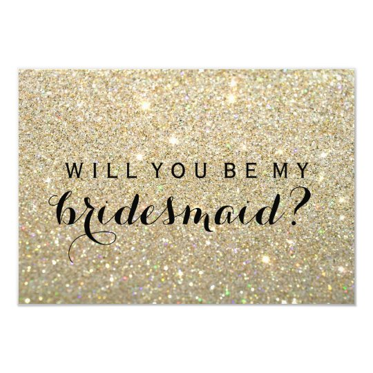 will you be my bridesmaid gold fab card. Black Bedroom Furniture Sets. Home Design Ideas