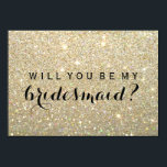 """WIll You Be My Bridesmaid - Gold Glitter Fab Invitation<br><div class=""""desc"""">Will you be my Bridesmaid?   Fun Modern Glitter Flat Bridal Party Card. Use this Card to invite family and friends to be a member of your bridal party. Easy to personalize, change background color, image, text color, text size, text spacing, to suit your occasion. Feel free to leave the...</div>"""