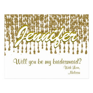 Will You Be My Bridesmaid | Gold Glitter Look Postcard