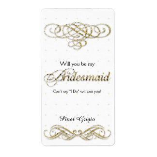 Will You Be My Bridesmaid Gold Glitter Wine Label