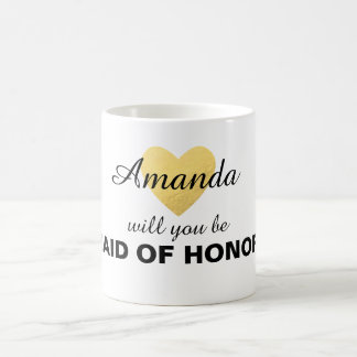 Will you be my bridesmaid gold heart mug
