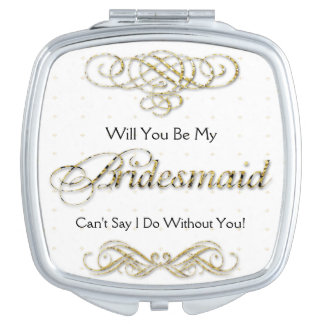 Will You Be My Bridesmaid Gold Scroll Makeup Mirror