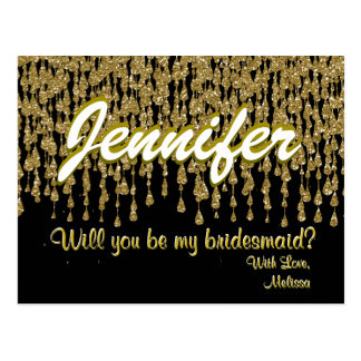 Will You Be My Bridesmaid | Gold Sparkle Look Postcard