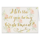 Will You Be My Bridesmaid GOLD Typography Card