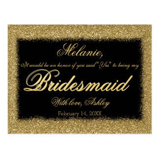 Will You Be My Bridesmaid? Golden Glitter Border Postcard