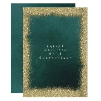 Will You Be My Bridesmaid Golden Glitter Emerald Card