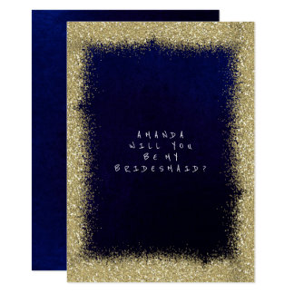 Will You Be My Bridesmaid Golden Glitter  Navy Card