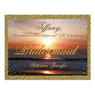 Will You Be My Bridesmaid? Golden Sand / Sunset Postcard