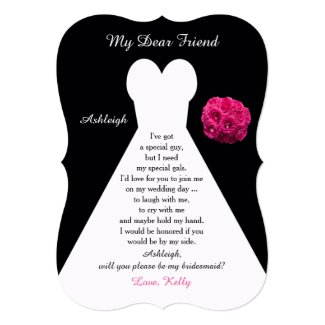 Will You Be My Bridesmaid Gown on Black with Roses Invitation