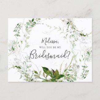 Will You Be My Bridesmaid Greenery Sketch Foliage Invitation Postcard