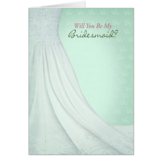 Will You Be My Bridesmaid Greeting Card Mint Green