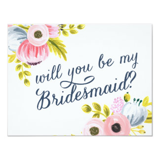 WILL YOU BE MY BRIDESMAID? hand painted card