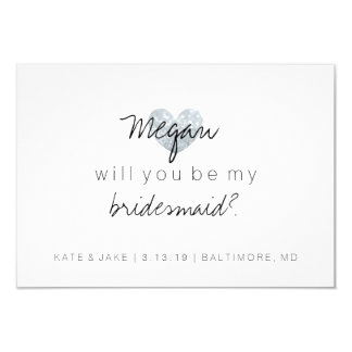 Will You Be My Bridesmaid - Heart's Fab Silver Invitation
